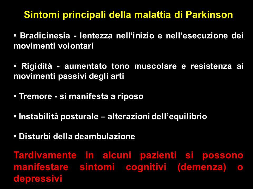 Sintomi principali della malattia di Parkinson Bradicinesia - lentezza nellinizio e nellesecuzione dei movimenti volontari Rigidità - aumentato tono m