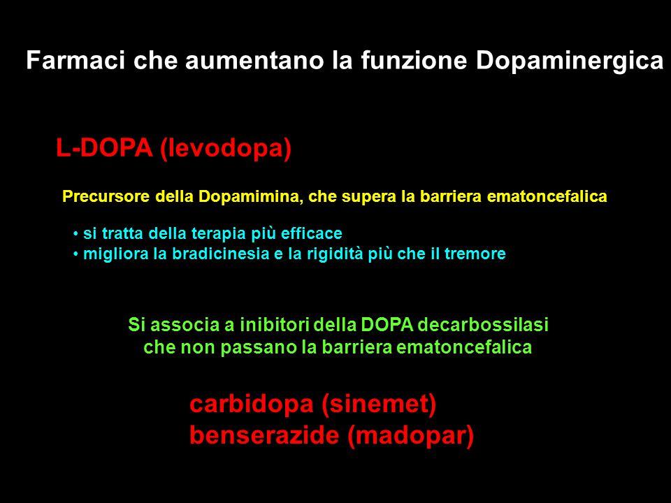 Farmaci che aumentano la funzione Dopaminergica L-DOPA (levodopa) Precursore della Dopamimina, che supera la barriera ematoncefalica Si associa a inib