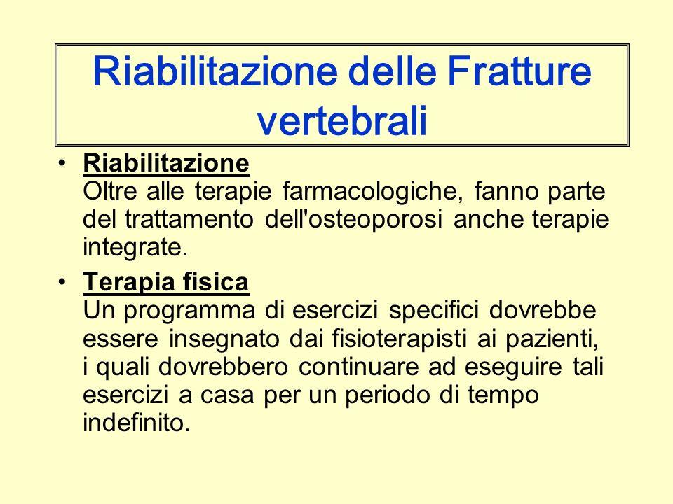 Riabilitazione delle Fratture vertebrali Riabilitazione Oltre alle terapie farmacologiche, fanno parte del trattamento dell'osteoporosi anche terapie