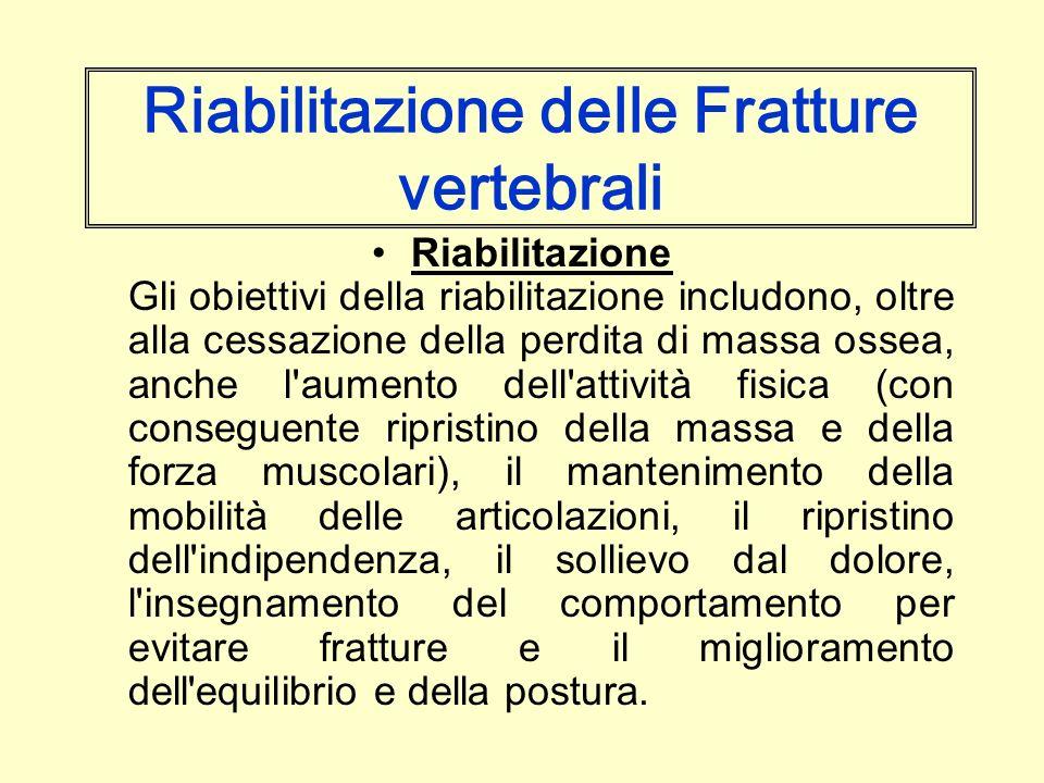 Riabilitazione delle Fratture vertebrali Riabilitazione Gli obiettivi della riabilitazione includono, oltre alla cessazione della perdita di massa oss