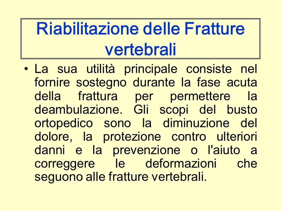 Riabilitazione delle Fratture vertebrali La sua utilità principale consiste nel fornire sostegno durante la fase acuta della frattura per permettere l