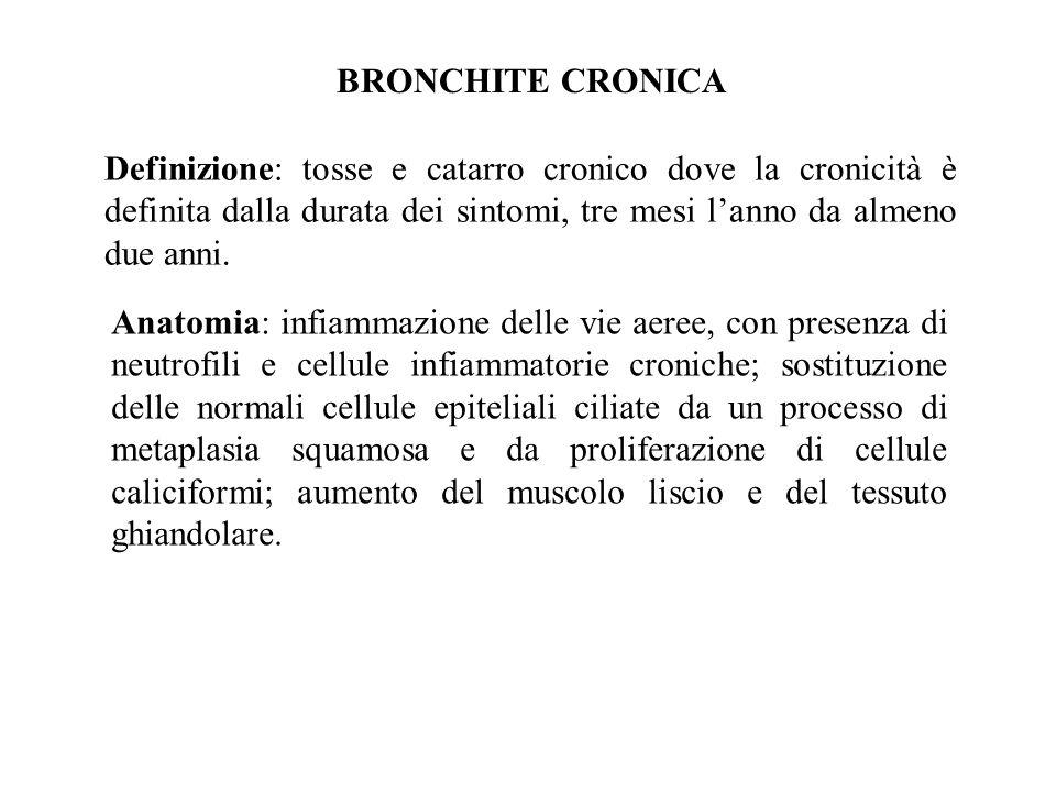 BRONCHITE CRONICA Definizione: tosse e catarro cronico dove la cronicità è definita dalla durata dei sintomi, tre mesi lanno da almeno due anni.