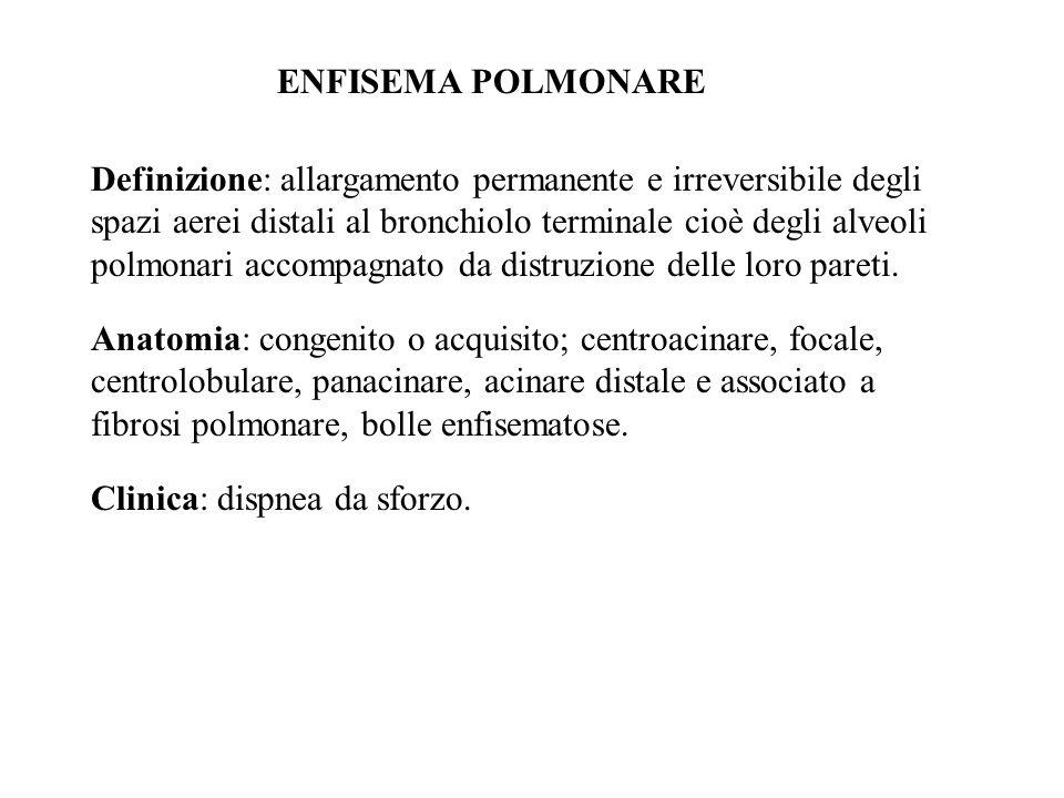 ENFISEMA POLMONARE Definizione: allargamento permanente e irreversibile degli spazi aerei distali al bronchiolo terminale cioè degli alveoli polmonari accompagnato da distruzione delle loro pareti.