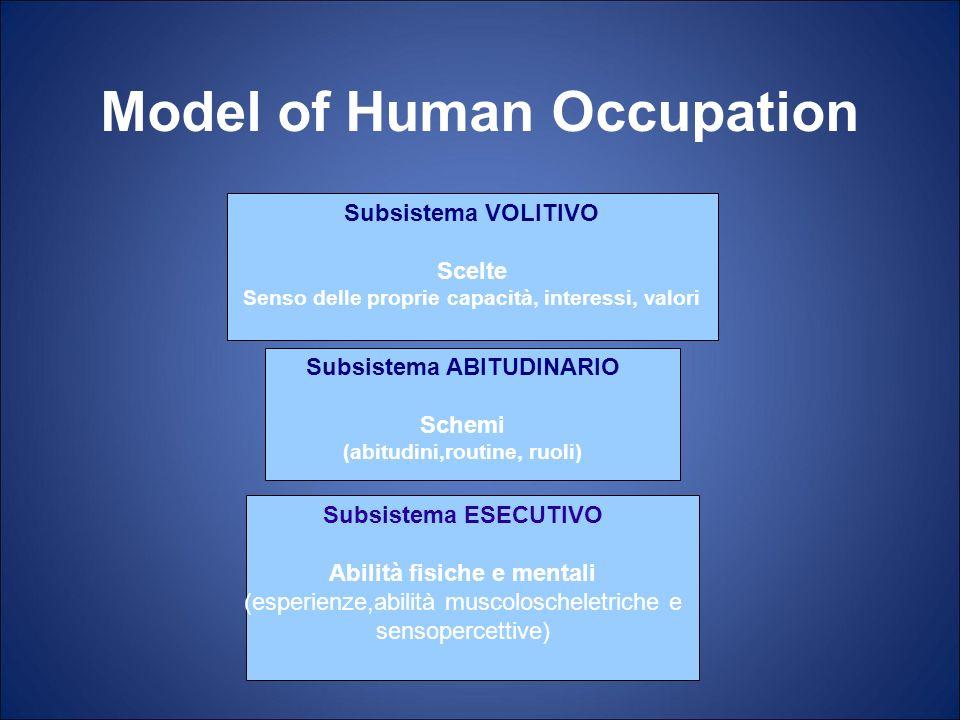 Model of Human Occupation Subsistema ESECUTIVO Abilità fisiche e mentali (esperienze,abilità muscoloscheletriche e sensopercettive) Subsistema ABITUDI