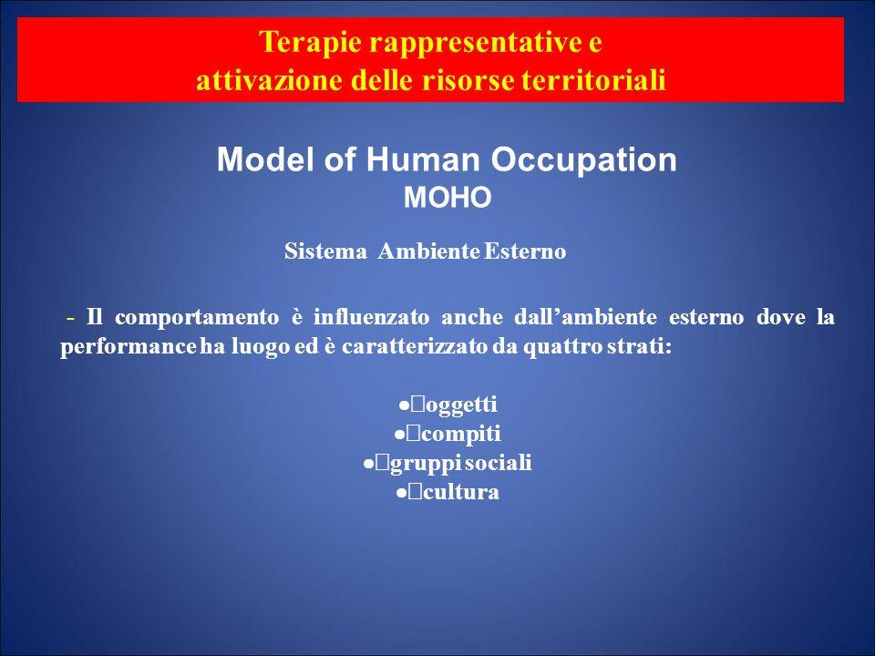 Model of Human Occupation MOHO - Il comportamento è influenzato anche dallambiente esterno dove la performance ha luogo ed è caratterizzato da quattro