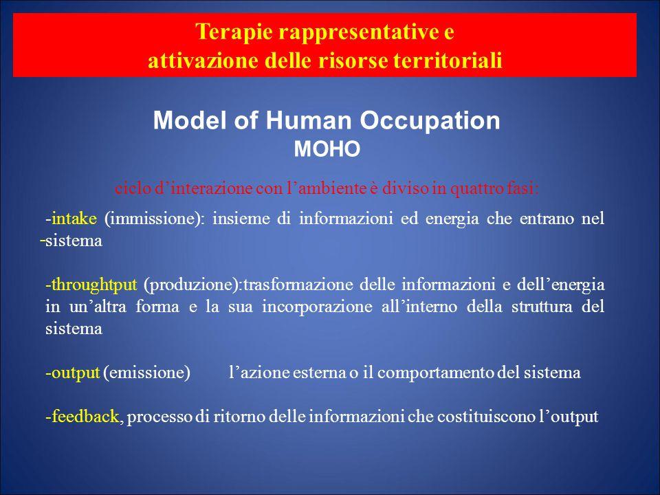 Model of Human Occupation MOHO - Terapie rappresentative e attivazione delle risorse territoriali ciclo dinterazione con lambiente è diviso in quattro