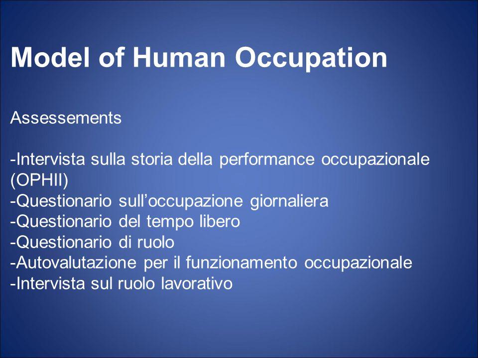 Model of Human Occupation Assessements -Intervista sulla storia della performance occupazionale (OPHII) -Questionario sulloccupazione giornaliera -Que