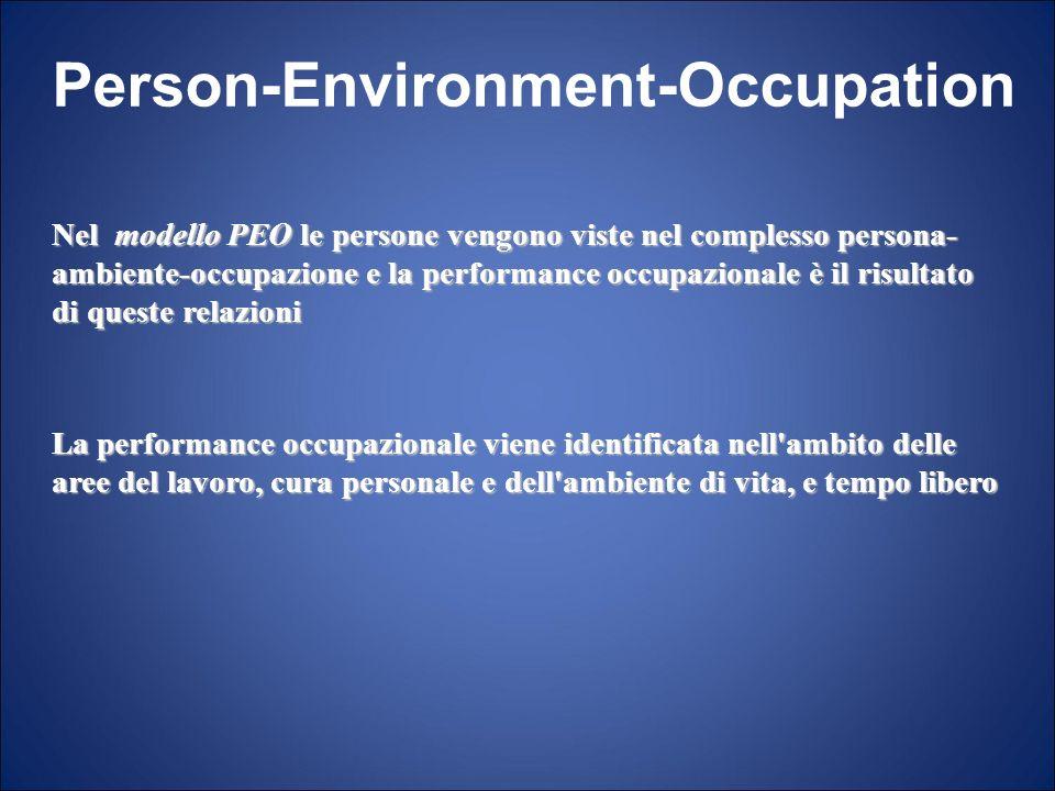 Person-Environment-Occupation Nel modello PEO le persone vengono viste nel complesso persona- ambiente-occupazione e la performance occupazionale è il