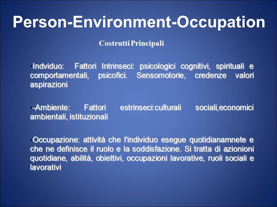 Indviduo: Fattori Intrinseci: psicologici cognitivi, spirituali e comportamentali, psicofici. Sensomotorie, credenze valori aspirazioni Indviduo: Fatt