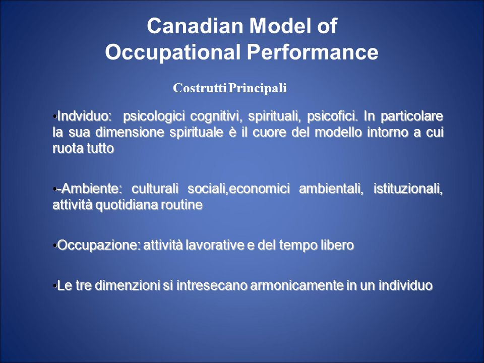 Canadian Model of Occupational Performance Indviduo: psicologici cognitivi, spirituali, psicofici. In particolare la sua dimensione spirituale è il cu