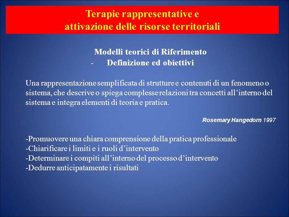 - Terapie rappresentative e attivazione delle risorse territoriali Modelli teorici di Riferimento Definizione ed obiettivi Una rappresentazione sempli