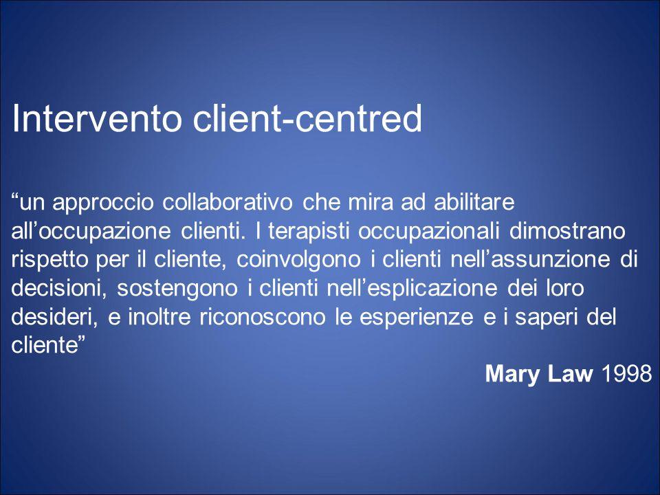 Intervento client-centred un approccio collaborativo che mira ad abilitare alloccupazione clienti. I terapisti occupazionali dimostrano rispetto per i
