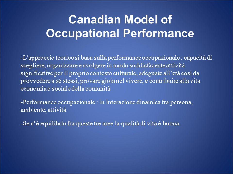 -Lapproccio teorico si basa sulla performance occupazionale : capacità di scegliere, organizzare e svolgere in modo soddisfacente attività significati
