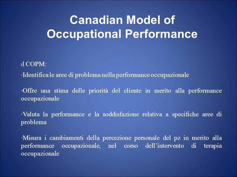 I l COPM: ·Identifica le aree di problema nella performance occupazionale ·Offre una stima delle priorità del cliente in merito alla performance occup