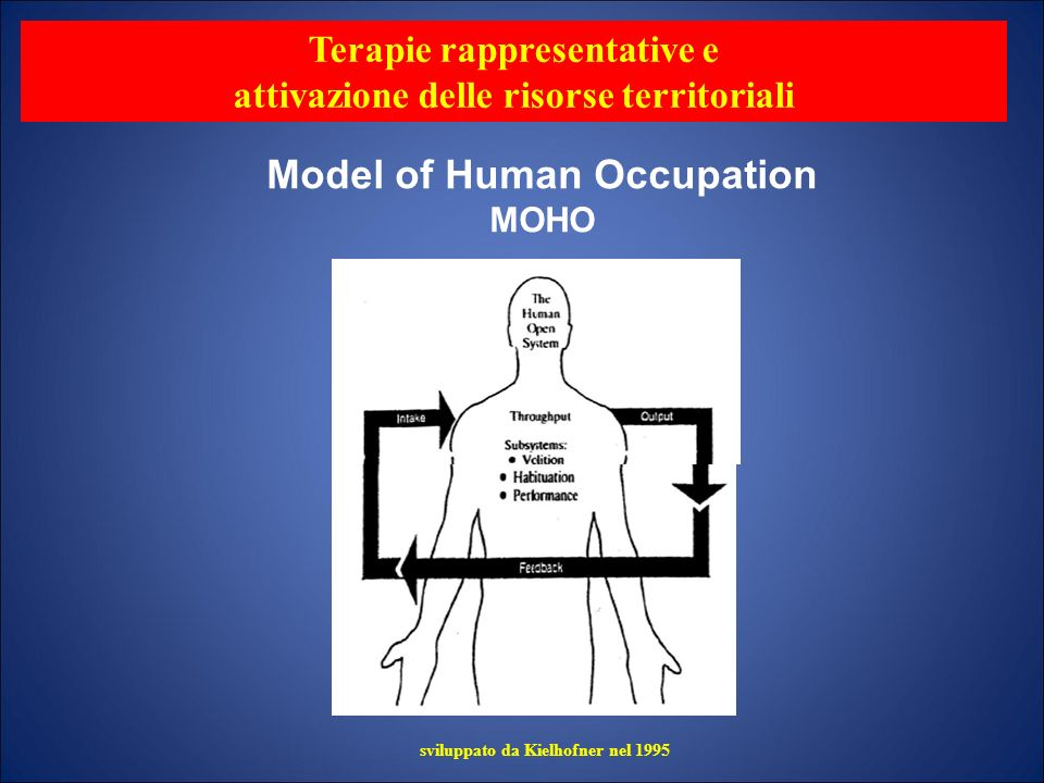 Canadian Model of Occupational Performance Indviduo: psicologici cognitivi, spirituali, psicofici.