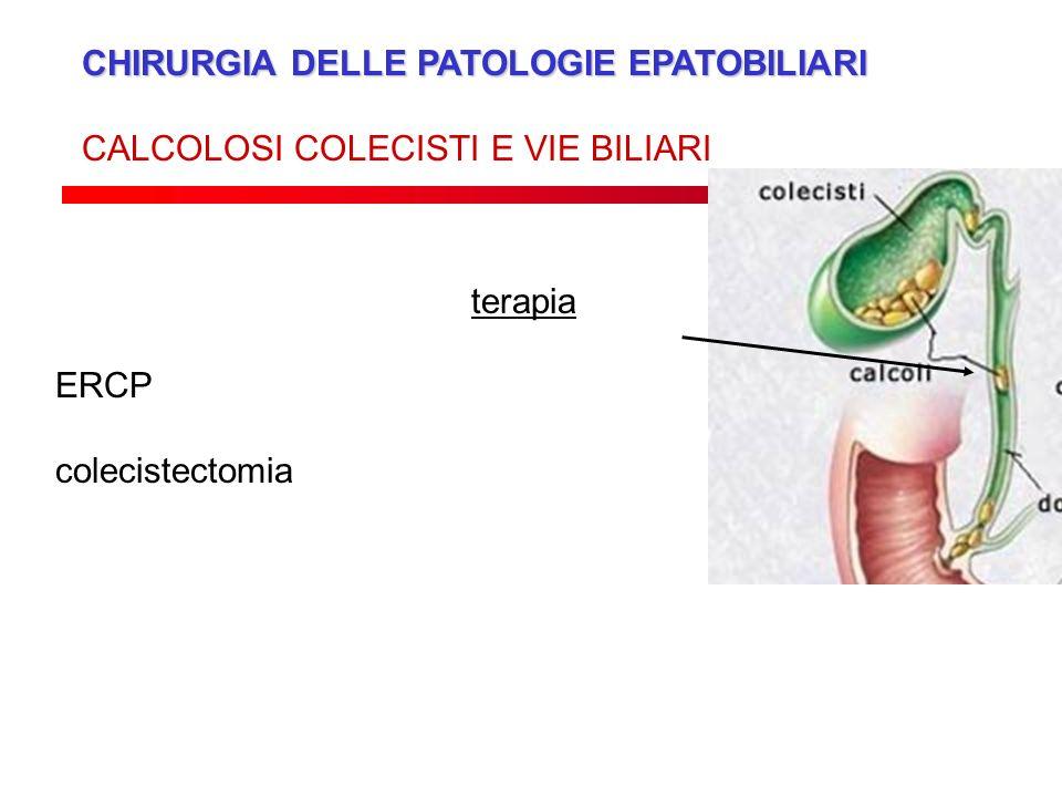 CHIRURGIA DELLE PATOLOGIE EPATOBILIARI CALCOLOSI COLECISTI E VIE BILIARI terapia ERCP colecistectomia