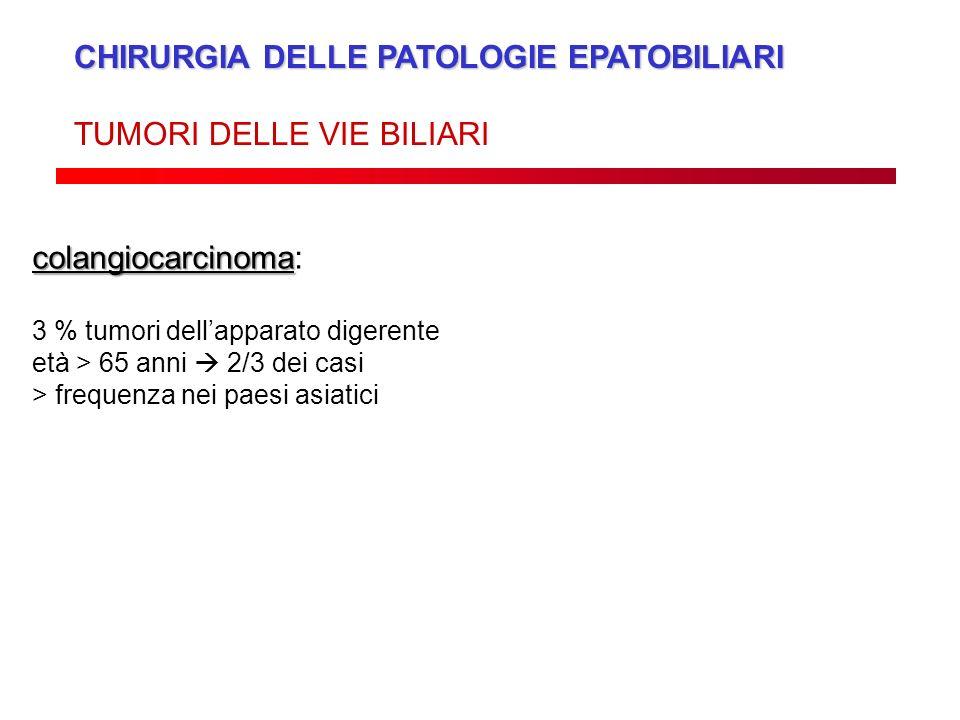 CHIRURGIA DELLE PATOLOGIE EPATOBILIARI TUMORI DELLE VIE BILIARI colangiocarcinoma colangiocarcinoma: 3 % tumori dellapparato digerente età > 65 anni 2
