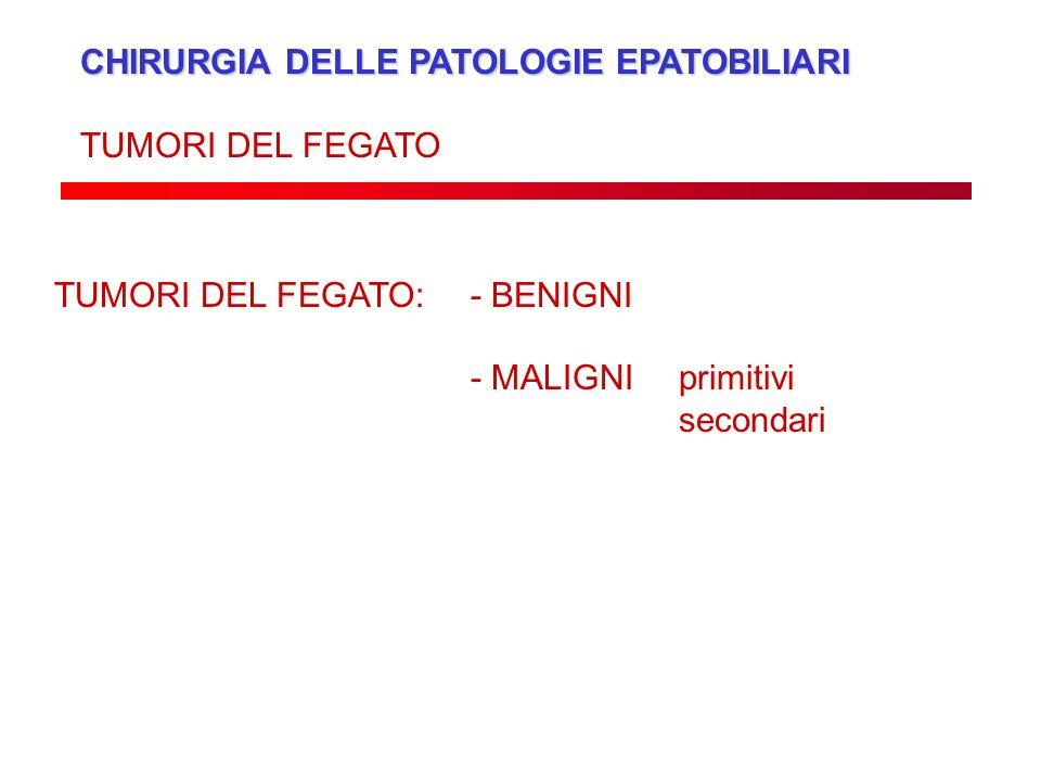 CHIRURGIA DELLE PATOLOGIE EPATOBILIARI TUMORI DEL FEGATO TUMORI DEL FEGATO: - BENIGNI - MALIGNI primitivi secondari