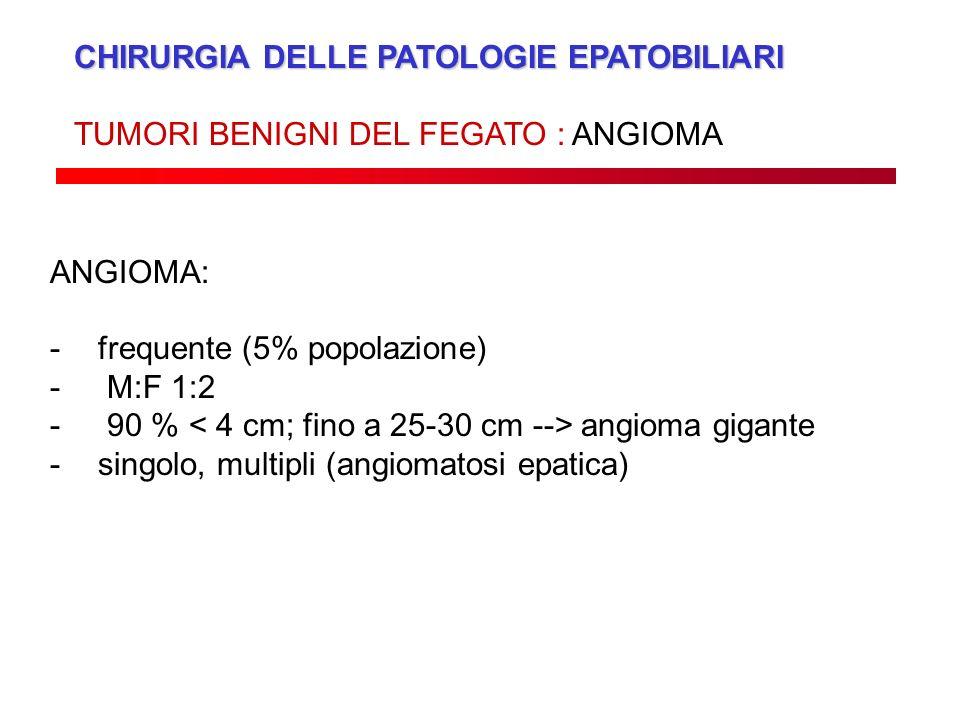 CHIRURGIA DELLE PATOLOGIE EPATOBILIARI TUMORI BENIGNI DEL FEGATO : ANGIOMA ANGIOMA: -frequente (5% popolazione) - M:F 1:2 - 90 % angioma gigante -sing