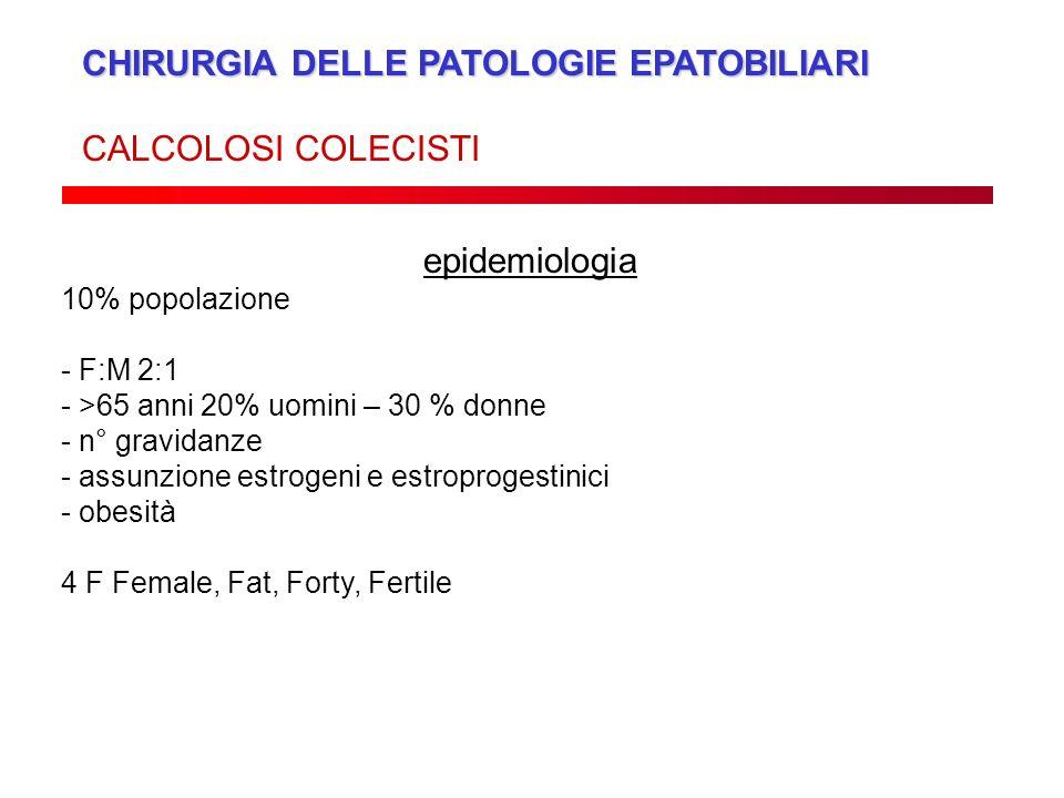 CHIRURGIA DELLE PATOLOGIE EPATOBILIARI CALCOLOSI COLECISTI epidemiologia 10% popolazione - F:M 2:1 - >65 anni 20% uomini – 30 % donne - n° gravidanze