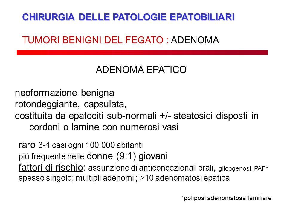 CHIRURGIA DELLE PATOLOGIE EPATOBILIARI TUMORI BENIGNI DEL FEGATO : ADENOMA ADENOMA EPATICO neoformazione benigna rotondeggiante, capsulata, costituita