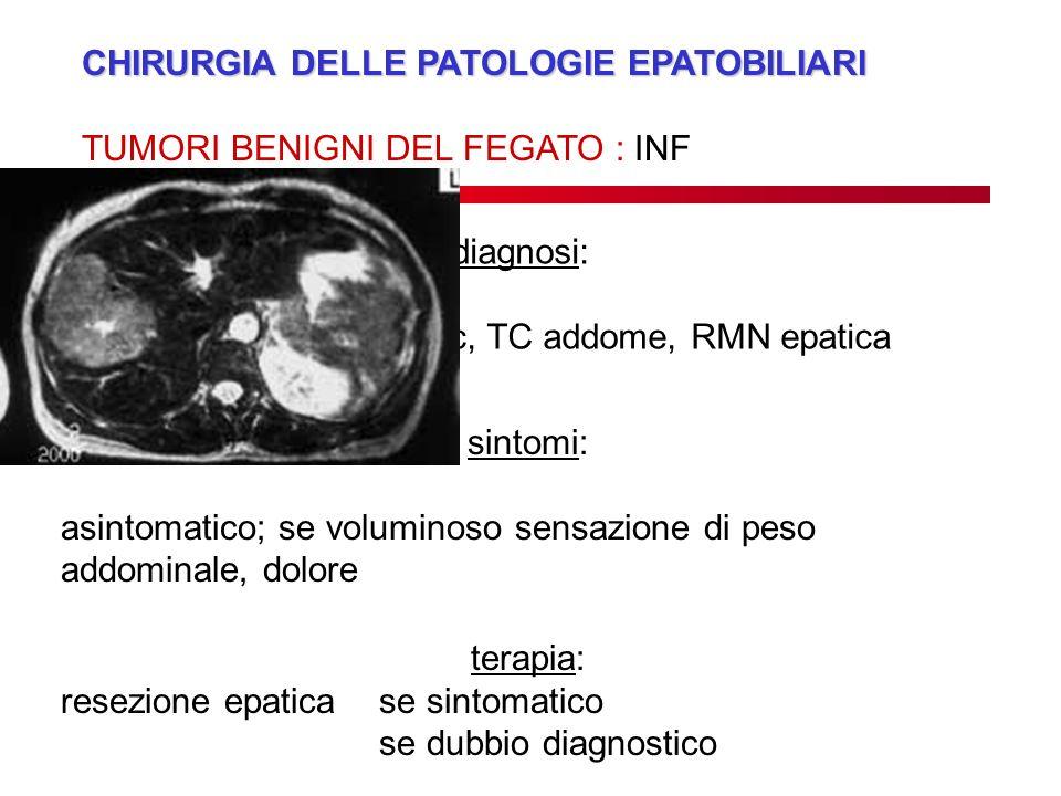 CHIRURGIA DELLE PATOLOGIE EPATOBILIARI TUMORI BENIGNI DEL FEGATO : INF diagnosi: eco addome, eco con mdc, TC addome, RMN epatica biopsia epatica sinto
