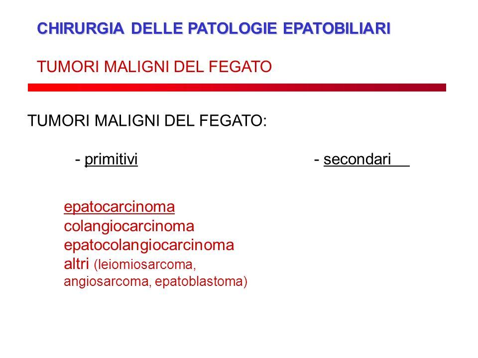 CHIRURGIA DELLE PATOLOGIE EPATOBILIARI TUMORI MALIGNI DEL FEGATO TUMORI MALIGNI DEL FEGATO: - primitivi- secondari epatocarcinoma colangiocarcinoma ep