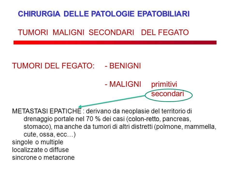 CHIRURGIA DELLE PATOLOGIE EPATOBILIARI TUMORI MALIGNI SECONDARI DEL FEGATO TUMORI DEL FEGATO: - BENIGNI - MALIGNI primitivi secondari METASTASI EPATIC