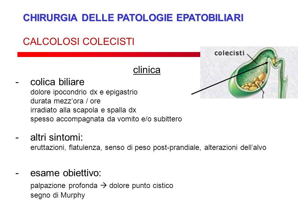 CHIRURGIA DELLE PATOLOGIE EPATOBILIARI CALCOLOSI COLECISTI clinica -colica biliare dolore ipocondrio dx e epigastrio durata mezzora / ore irradiato al
