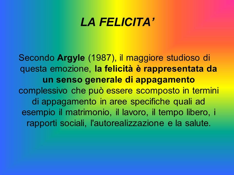 Secondo Argyle (1987), il maggiore studioso di questa emozione, la felicità è rappresentata da un senso generale di appagamento complessivo che può es