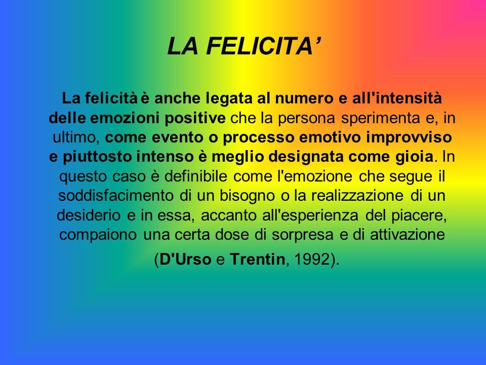 LA FELICITA La felicità è anche legata al numero e all'intensità delle emozioni positive che la persona sperimenta e, in ultimo, come evento o process