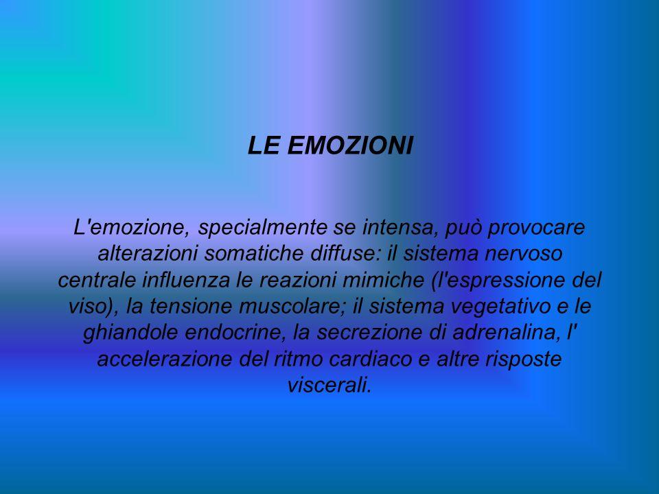 LE EMOZIONI L'emozione, specialmente se intensa, può provocare alterazioni somatiche diffuse: il sistema nervoso centrale influenza le reazioni mimich