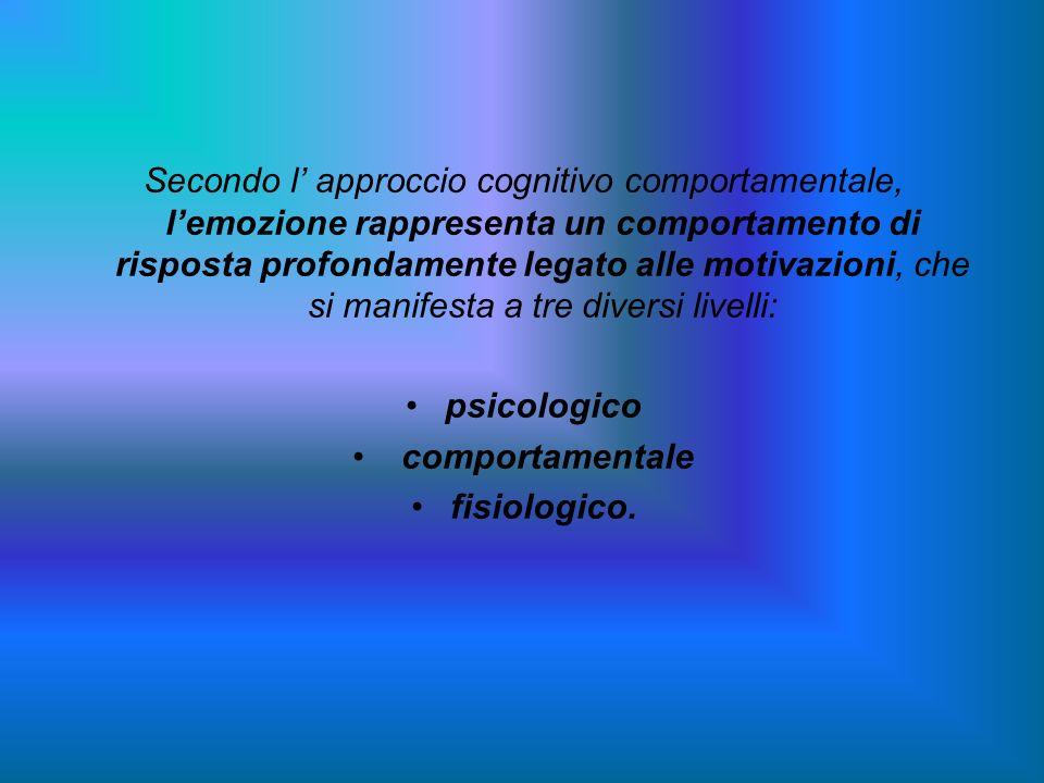 Secondo l approccio cognitivo comportamentale, lemozione rappresenta un comportamento di risposta profondamente legato alle motivazioni, che si manife