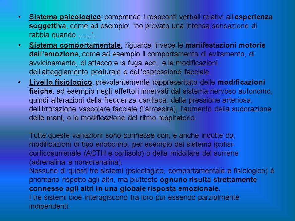 Sistema psicologico: comprende i resoconti verbali relativi allesperienza soggettiva, come ad esempio: ho provato una intensa sensazione di rabbia qua