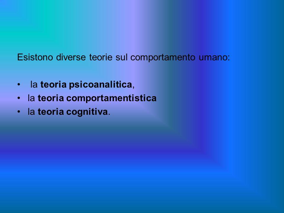 Esistono diverse teorie sul comportamento umano: la teoria psicoanalitica, la teoria comportamentistica la teoria cognitiva.