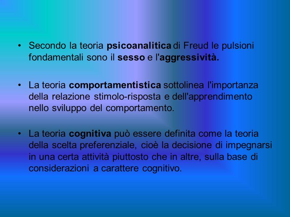 Secondo la teoria psicoanalitica di Freud le pulsioni fondamentali sono il sesso e l'aggressività. La teoria comportamentistica sottolinea l'importanz