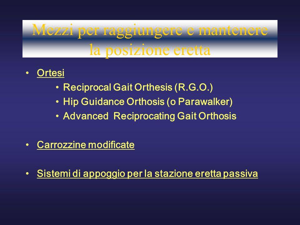 Mezzi per raggiungere e mantenere la posizione eretta Ortesi Reciprocal Gait Orthesis (R.G.O.) Hip Guidance Orthosis (o Parawalker) Advanced Reciproca