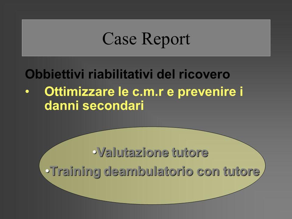 Case Report Obbiettivi riabilitativi del ricovero Ottimizzare le c.m.r e prevenire i danni secondari Valutazione tutoreValutazione tutore Training dea
