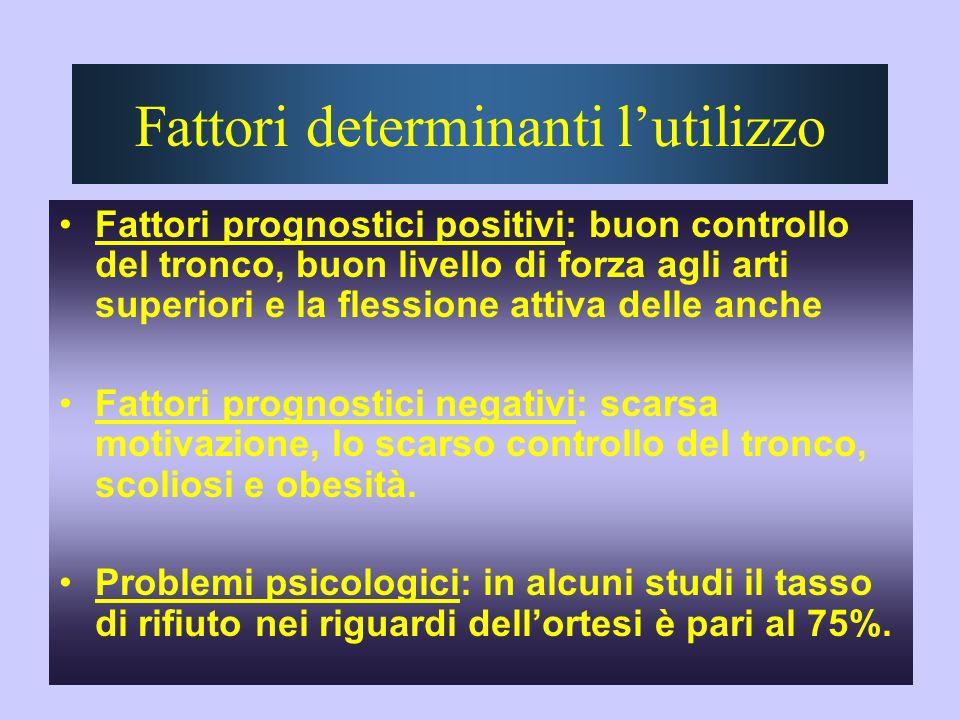 Fattori determinanti lutilizzo Fattori prognostici positivi: buon controllo del tronco, buon livello di forza agli arti superiori e la flessione attiv