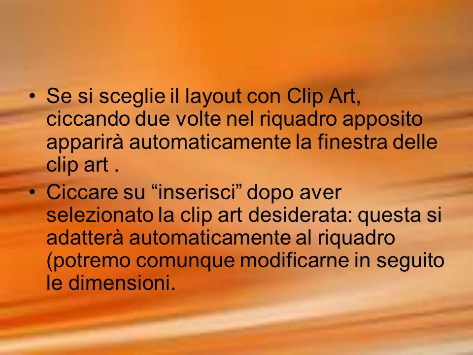 Se si sceglie il layout con Clip Art, ciccando due volte nel riquadro apposito apparirà automaticamente la finestra delle clip art. Ciccare su inseris