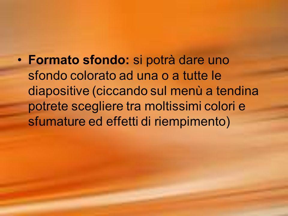Formato sfondo: si potrà dare uno sfondo colorato ad una o a tutte le diapositive (ciccando sul menù a tendina potrete scegliere tra moltissimi colori
