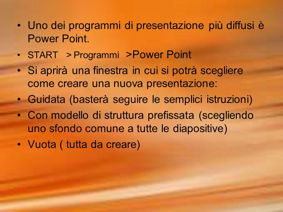 Uno dei programmi di presentazione più diffusi è Power Point. START >Programmi >Power Point Si aprirà una finestra in cui si potrà scegliere come crea
