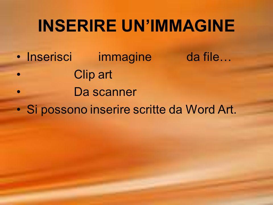 INSERIRE UNIMMAGINE Inserisci immagine da file… Clip art Da scanner Si possono inserire scritte da Word Art.
