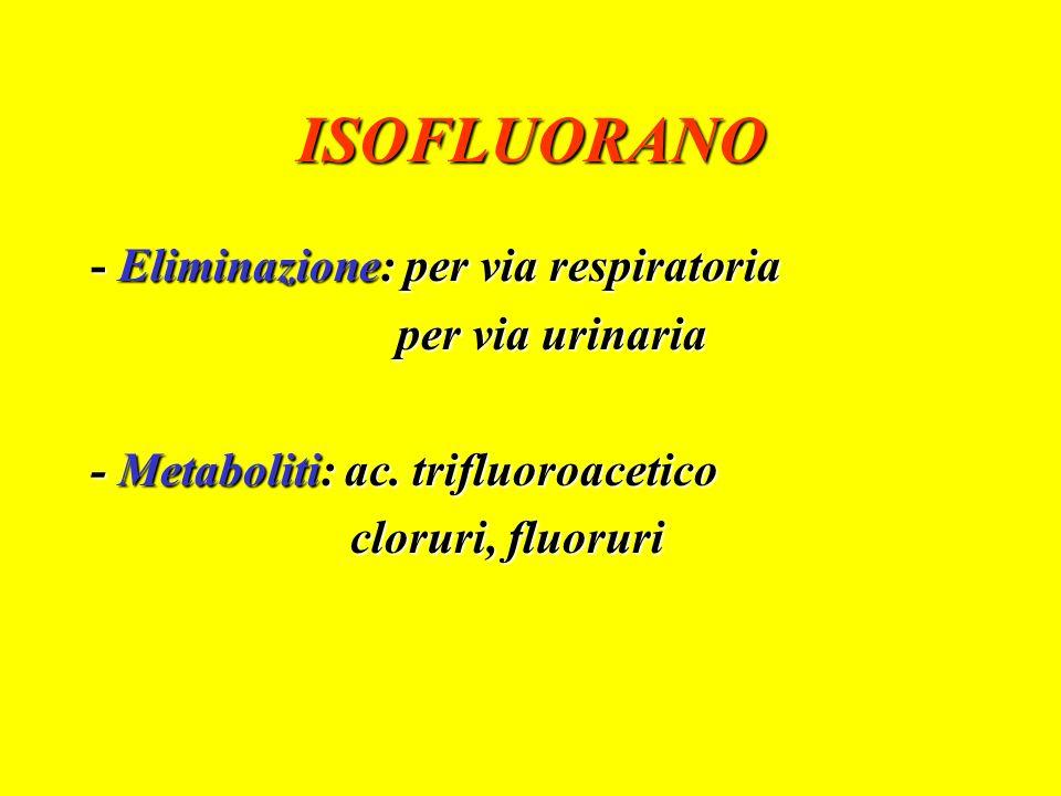 ENFLUORANO - Liquido trasparente, incolore - Non infiammabile, non irritante - Non infiammabile, non irritante - Odore dolciastro - Odore dolciastro - Eliminazione: 80 % per via respiratoria - Eliminazione: 80 % per via respiratoria 15 % per via urinaria 15 % per via urinaria 5 % metabolismo epatico 5 % metabolismo epatico - Metaboliti: ac.
