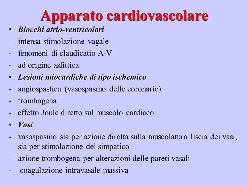Apparato cardiovascolare Soglia di fibrillazione ventricolare:Soglia di fibrillazione ventricolare: -intensità della corrente -aumenta con laumentare del peso (30 mA nella cavia; 250 mA nel montone) -diminuisce con laumentare della durata del contatto; se la durata scende al di sotto di un valore critico, la FV insorge solo se limpulso elettrico cade in un tempuscolo della ripolarizzazione ventricolare (periodo vulnerabile di Wiggers e Wegria) della durata di 30 msec.