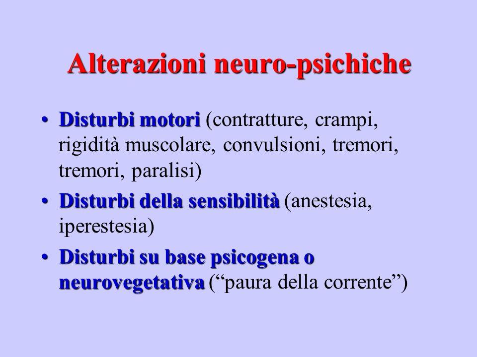Alterazioni neuro-psichiche PatogenesiPatogenesi -Ischemia o anossia anossica secondaria a paralisi respiratoria e/o deficit circolatori -Azione diretta sulle cellule nervose con conseguente disorganizzazione dellattività elettrica dei neuroni - Azione angiospastica a livello dei distretti circolatori cerebrali