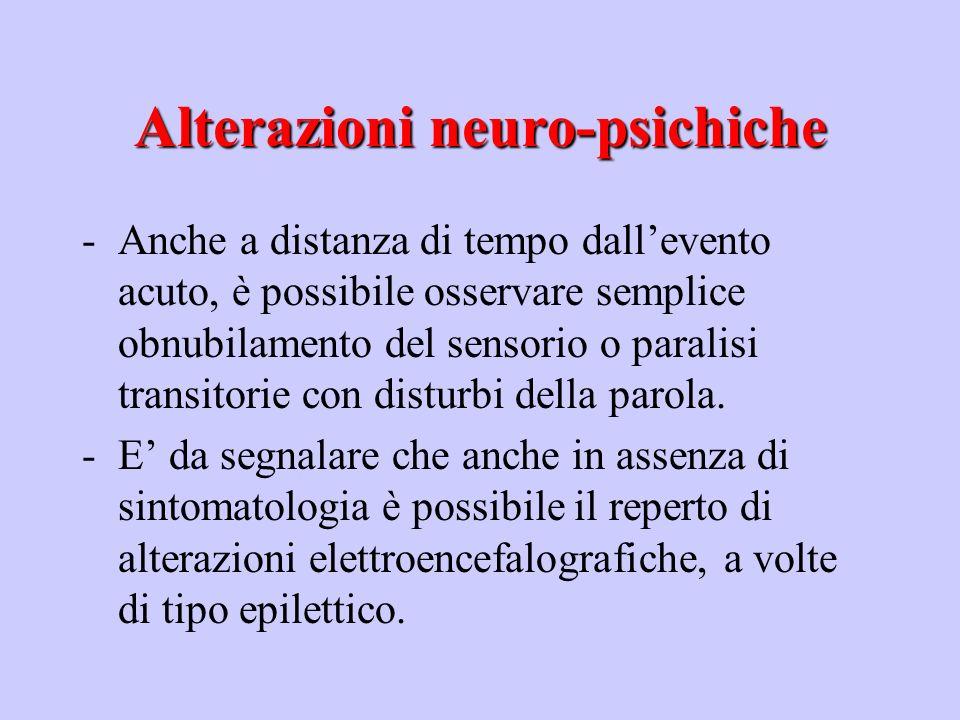 Alterazioni neuro-psichiche Disturbi motoriDisturbi motori (contratture, crampi, rigidità muscolare, convulsioni, tremori, tremori, paralisi) Disturbi della sensibilitàDisturbi della sensibilità (anestesia, iperestesia) Disturbi su base psicogena o neurovegetativaDisturbi su base psicogena o neurovegetativa (paura della corrente)