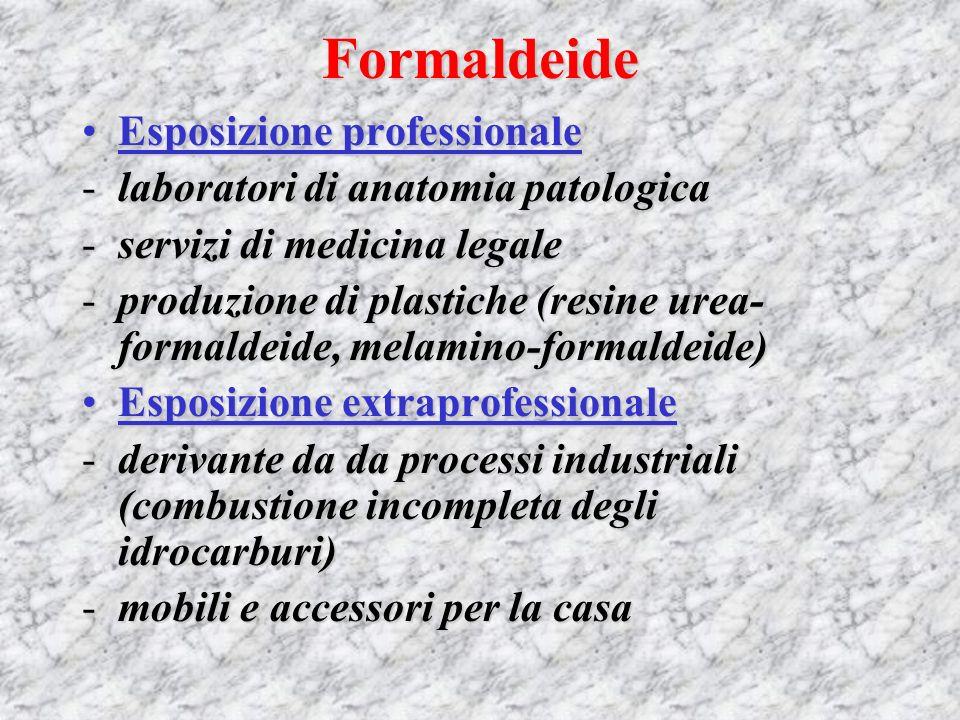 Formaldeide Usi della formaldeide: 1)Disinfezione di pavimenti e superfici lavabili 2)Disinfezione di ambienti tramite vaporizzazione di formalina 3)Disinfezione di strumenti chirurgici e medicali 4)Conservazione di campioni biologici