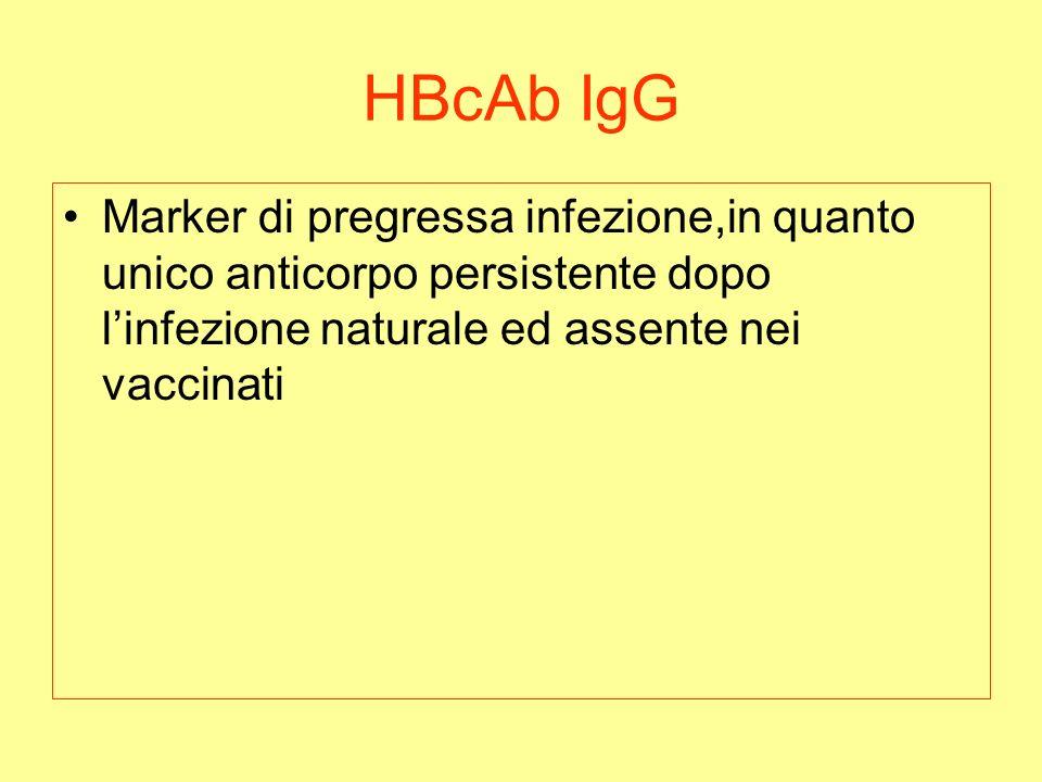 HBcAb IgG Marker di pregressa infezione,in quanto unico anticorpo persistente dopo linfezione naturale ed assente nei vaccinati