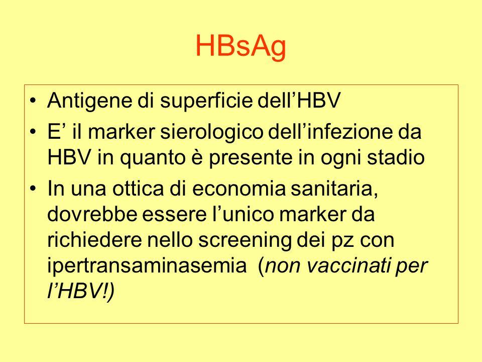 HBsAg Antigene di superficie dellHBV E il marker sierologico dellinfezione da HBV in quanto è presente in ogni stadio In una ottica di economia sanitaria, dovrebbe essere lunico marker da richiedere nello screening dei pz con ipertransaminasemia (non vaccinati per lHBV!)